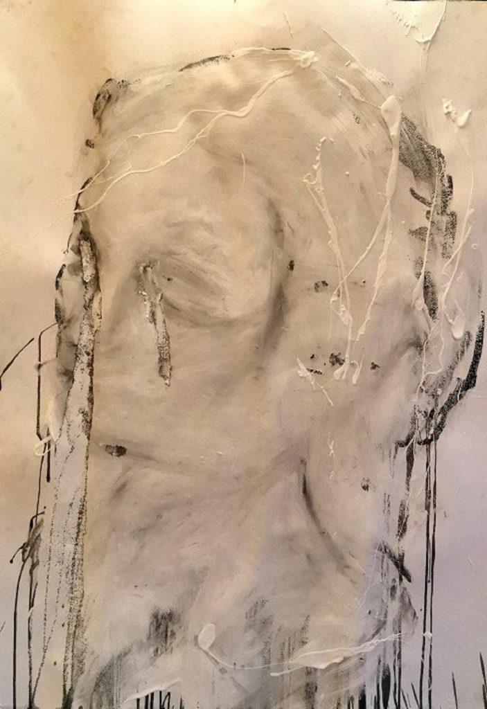 Lemeh42 'Study for a female head' t.mista su carta in teca nera cm 100x70